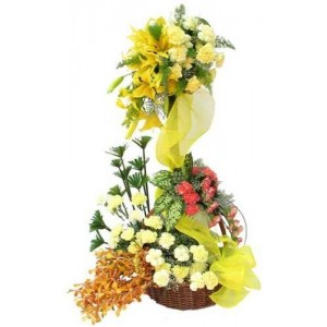 4 Yellow lilies and 20 yellow Carnations in a double basket