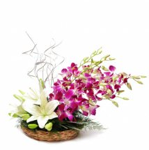White lilies-4 and Purple Orchids-4 in a Basket