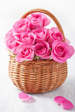 8 Pink Roses in a Basket