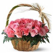12 Pink Roses in a Basket