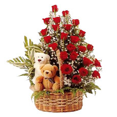 2 Teddies with 24 res roses in same basket