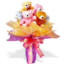 5 Teddies in a bouquet