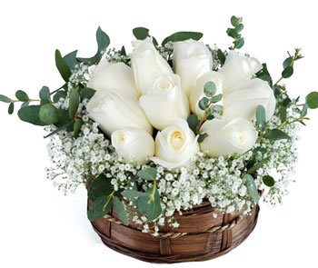 10 White roses in a Basket