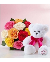 White Teddy with 12 coulored roses