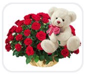 12 Rose in a Basket with a Teddy