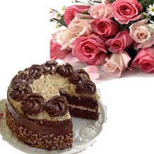 Cake and 12 Roses Bouquet