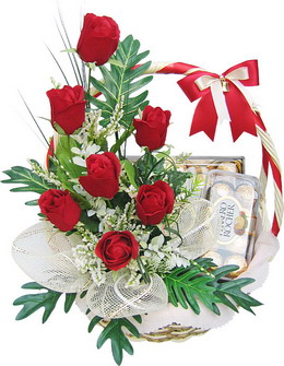 Ferrero rocher 16 piece box with 6 red roses in a basket